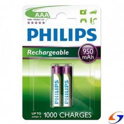 PILAS RECARGABLES PHILIPS AAA 950MAH. X2 PILAS