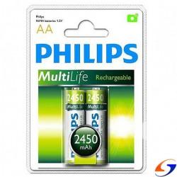 PILAS RECARGABLES PHILIPS AA 2450MAH. X2 PILAS