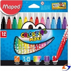 MARCADORES MAPED COLOR PEPS MAXI GRUESOS X12 MAPED