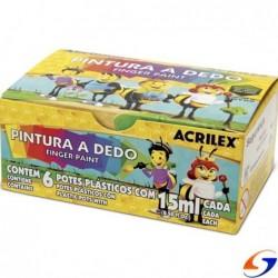 DACTILO PINTURA ACRILEX X6 COLORES DACTILOPINTURAS