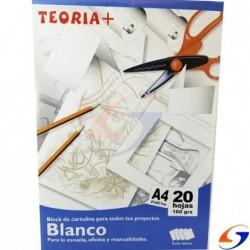 BLOCK CARTULINA TEORIA A4 BLANCA