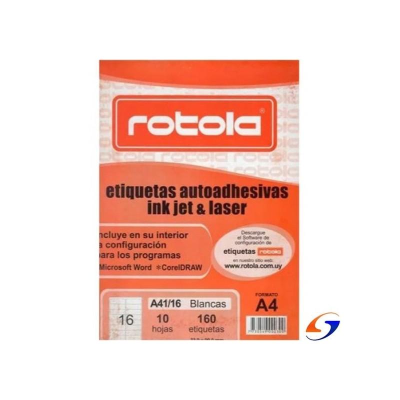 ETIQUETAS ROTOLA A4 CAJA DE 10 PLANCHAS ROTOLA