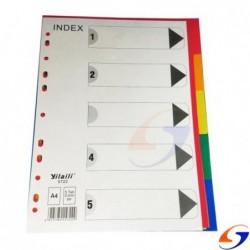 INDICE SEPARADOR 5 COLORES PLASTICO A4 SEPARADORES
