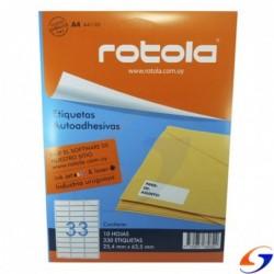 ETIQUETAS ROTOLA IMPRESORA A4 X10 PLANCHAS ROTOLA