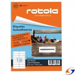 ETIQUETAS ROTOLA IMPRESORA A4 X100 PLANCHAS ROTOLA