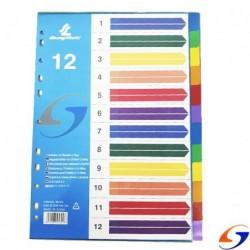 INDICE SEPARADOR 12 COLORES PLASTICO A4 SEPARADORES