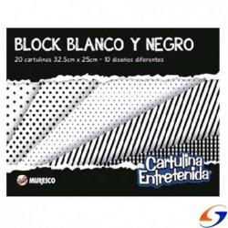 BLOCK CARTULINA NEGRA/BLANCA MURESCO A4