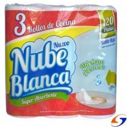 TOALLAS COCINA NUBE BLANCA FUNDA X3 ROLLOS TOALLAS