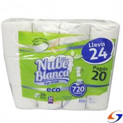 PAPEL HIGIENICO NUBE BLANCA ECO 30MT. X24 ROLLOS HIGIENICO