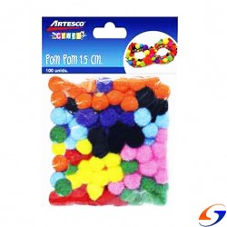 POM POM DE COLORES 15MM. PACK X100 ARTISTICA Y DIBUJO