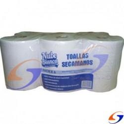 TOALLAS ROLLO PARA BAÑO NUBE BLANCA 180MTS. X6 TOALLAS